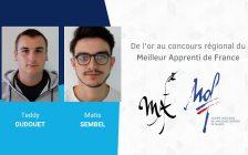 Concours « Un des Meilleurs Apprentis de France » 2020 : 2 médailles d'or en région !